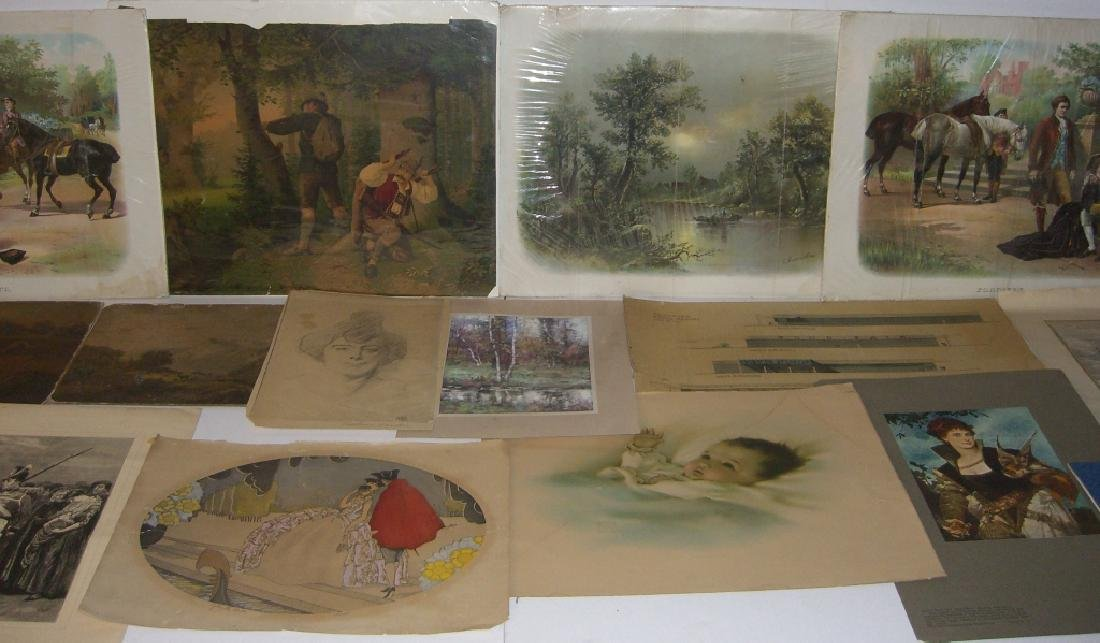 Collection of 35 etchings, engravings, lithographs