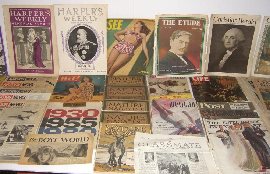 Collection of 64 vintage magazines, newspapers