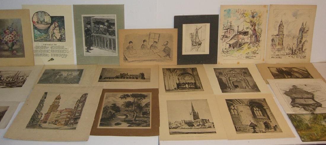40 vintage etching engravings, lithographs, prints