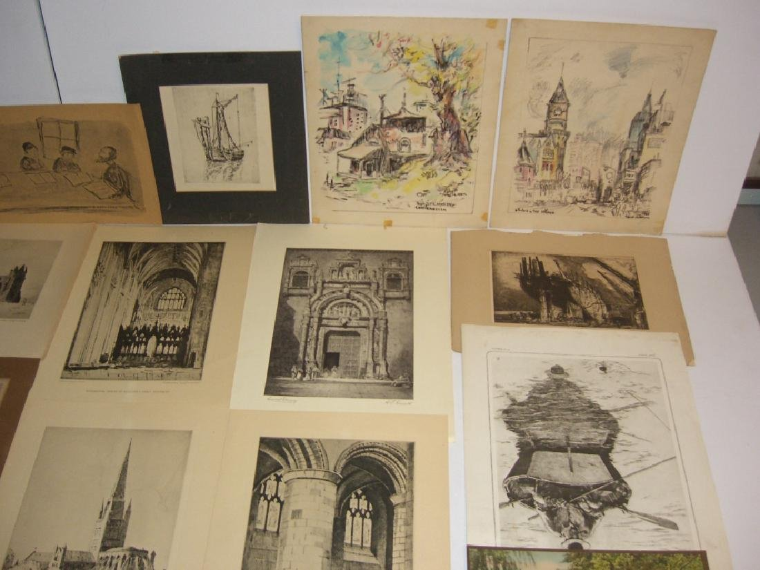 40 vintage etching engravings, lithographs, prints - 3