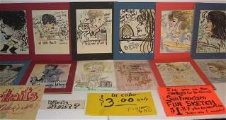 17 vintage 1980's caricature portrait drawings