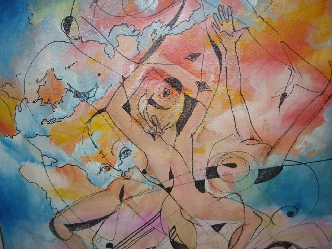 Abstract oil on canvas of women - 4