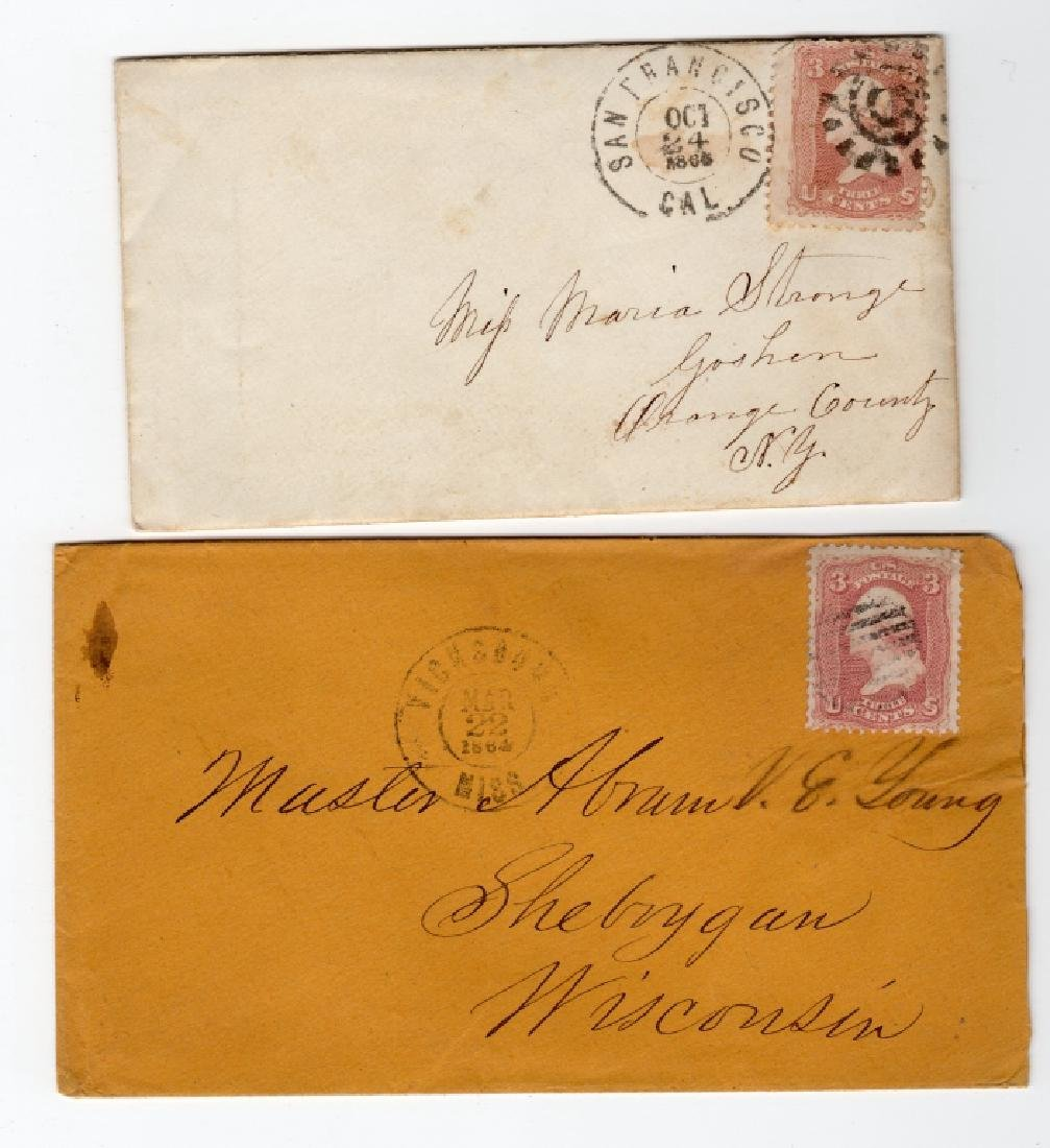 2 US 1864 & 1865 stamp envelope covers