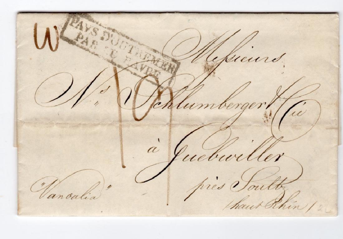 1839 US stampless Transatlantic folded letter