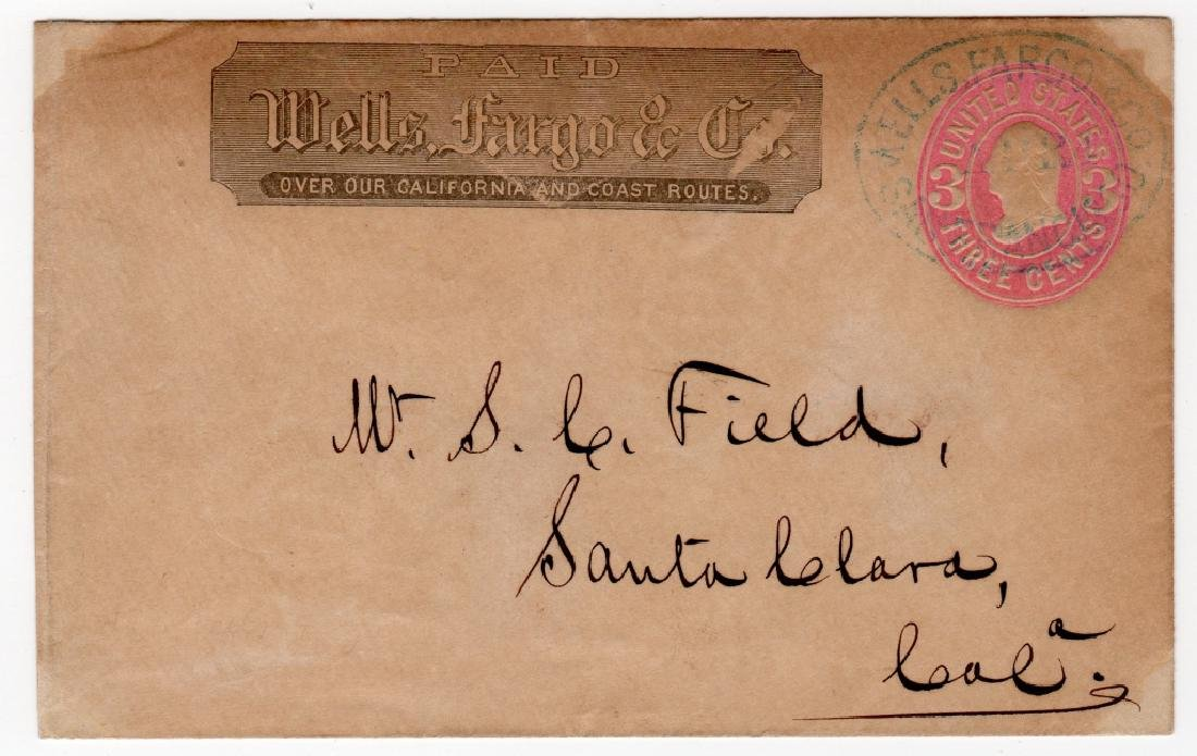1870 US Wells Fargo and Co. postal stationary