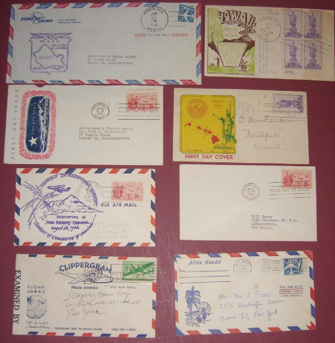 US 18 Hawaii stamps & air mail first day covers - 2