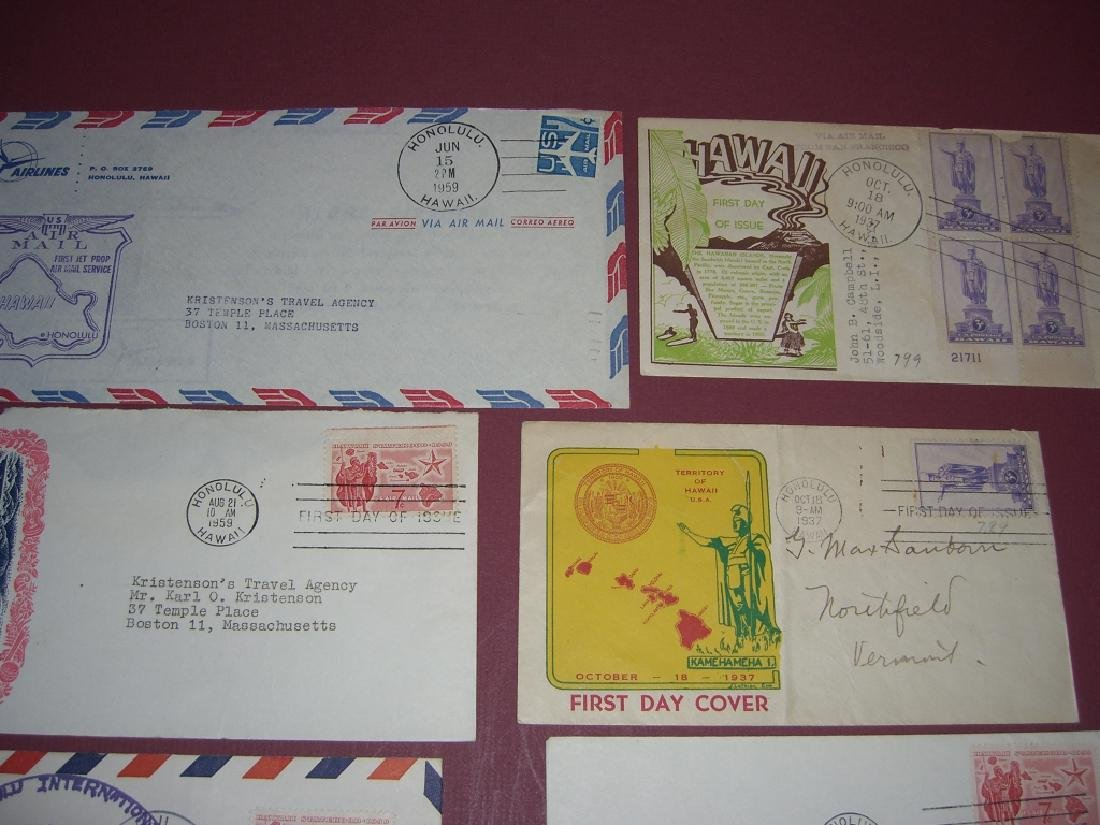US 18 Hawaii stamps & air mail first day covers - 3