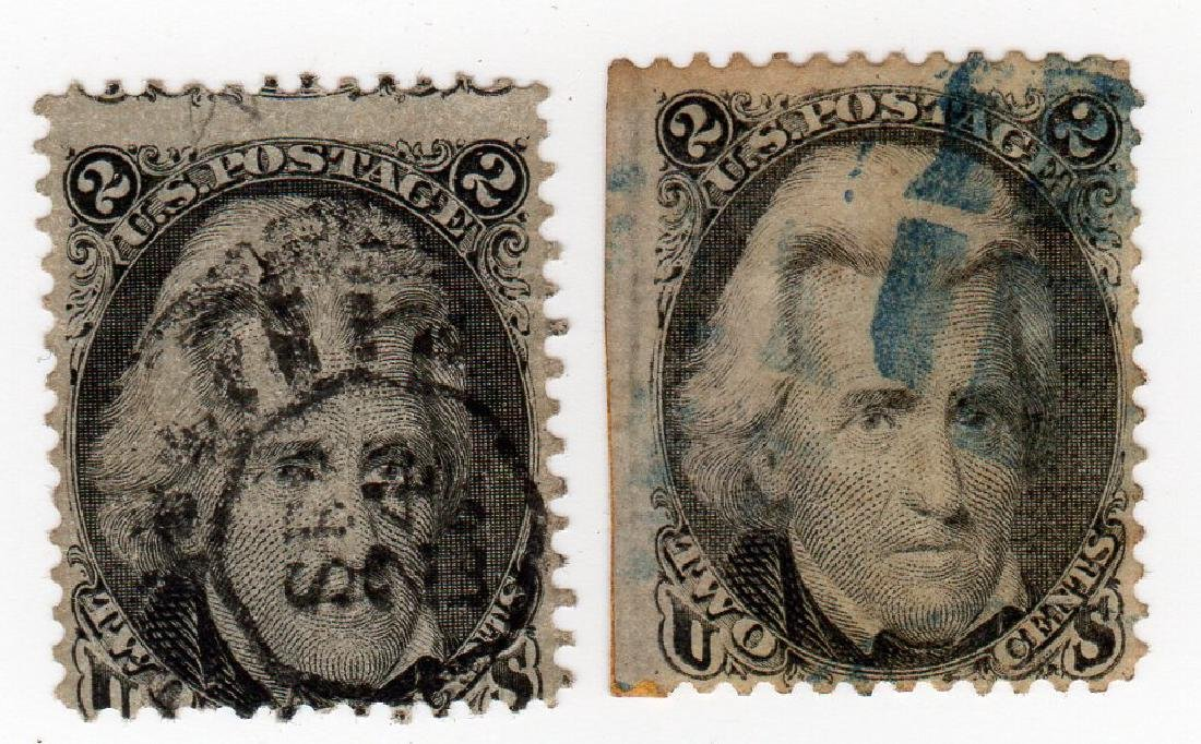 2 US 2 cents Andrew Jackson stamps