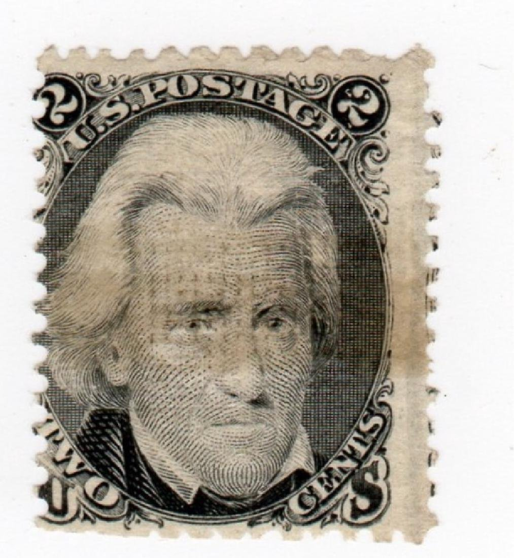 US 1867 2 cents Andrew Jackson E-Grill stamp