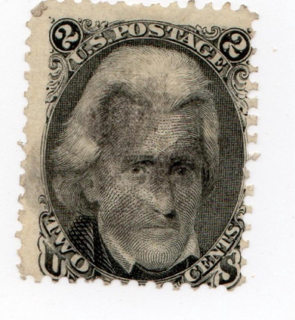 US 1867 2 cents Andrew Jackson F-Grill stamp