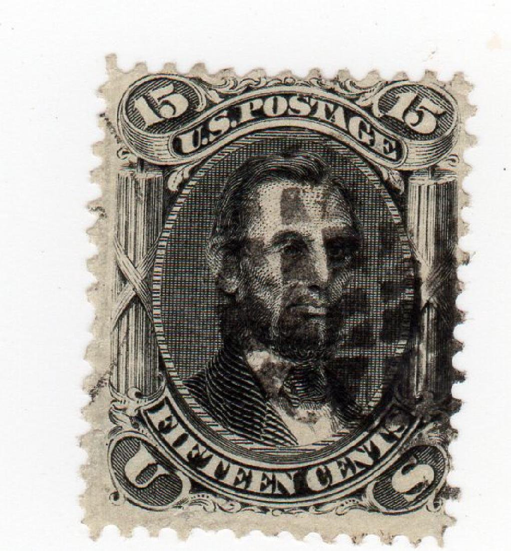 US 1867 15 cents Abraham Lincoln F-Grill stamp