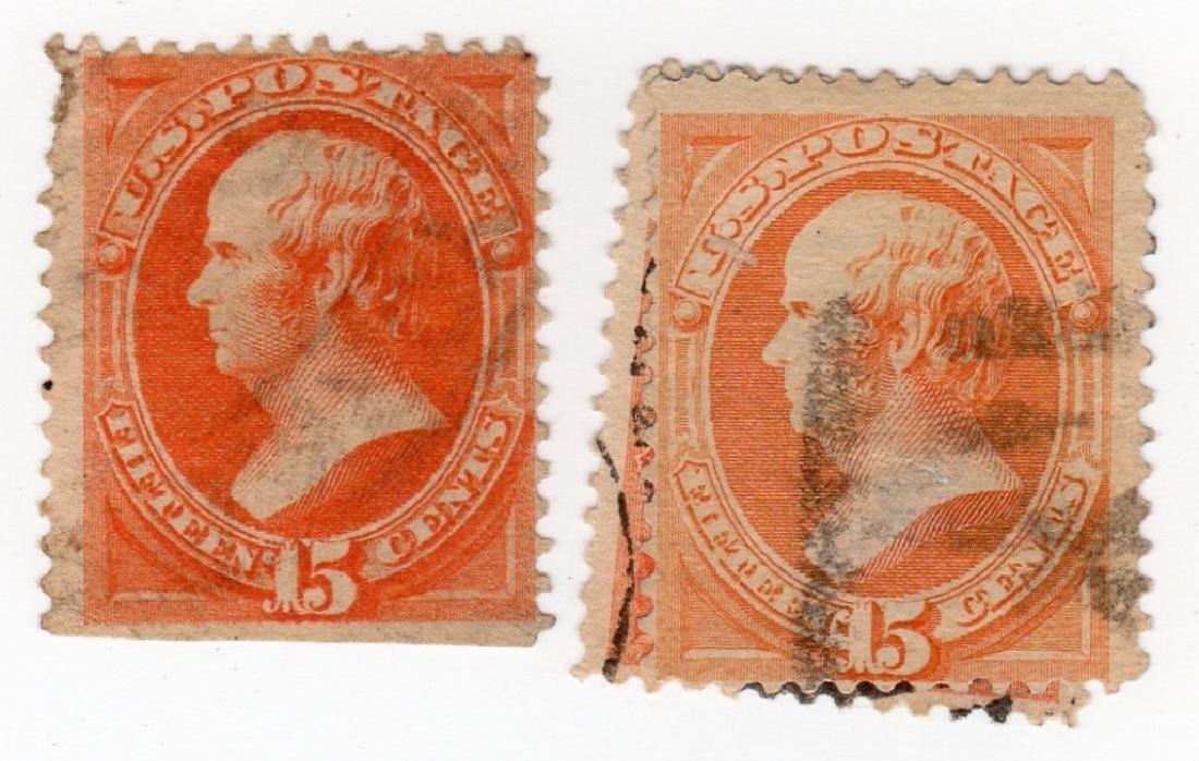 3 US 15 cents Webster stamps