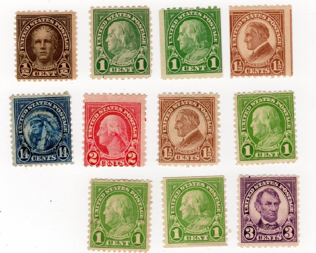 11 US 1922-1925 Flat plate printing stamps