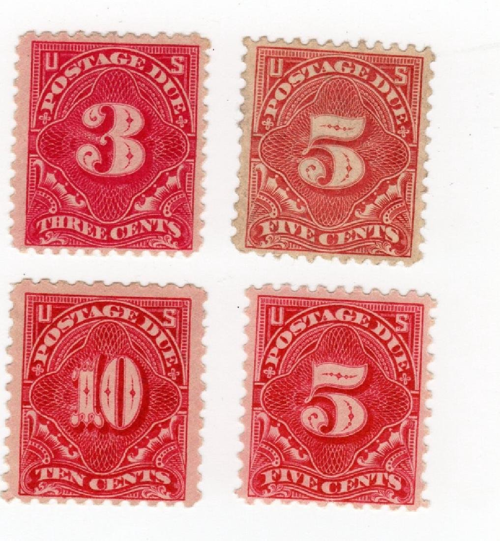 4 US Postage due BOB stamps