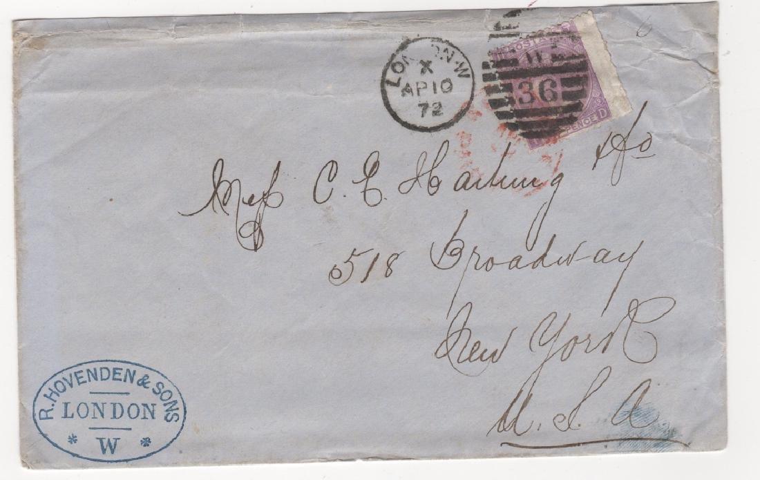 1872  Great Britain  transatlantic  stamp cover
