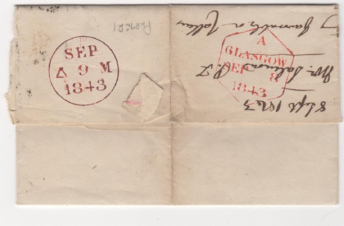 1843 Great Britain folded letter stamp cover - 2