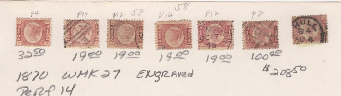 7 1870 Great Britain Queen Victoria 1/2d stamps