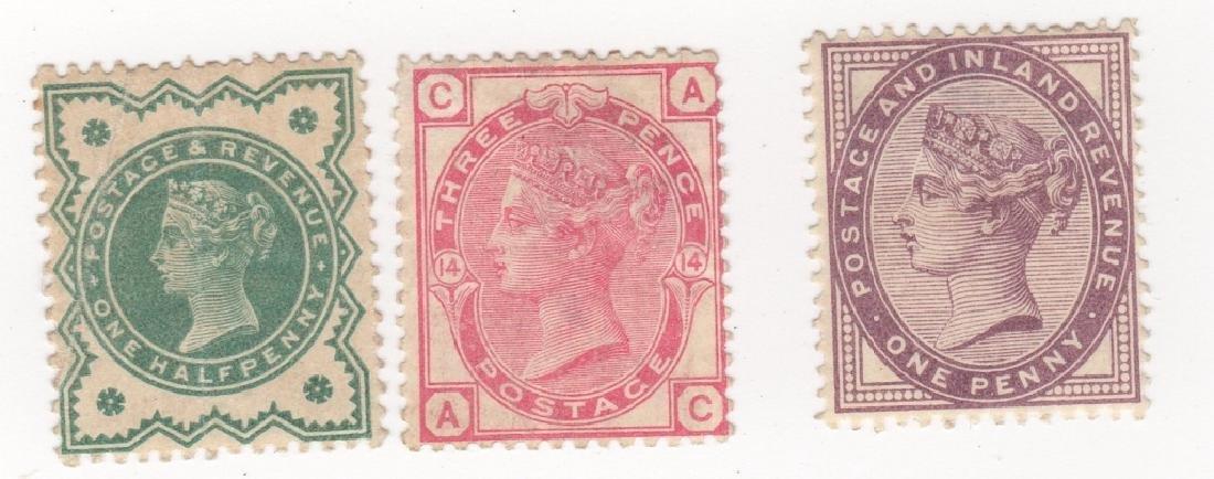 3 Great Britain Queen Victoria stamps