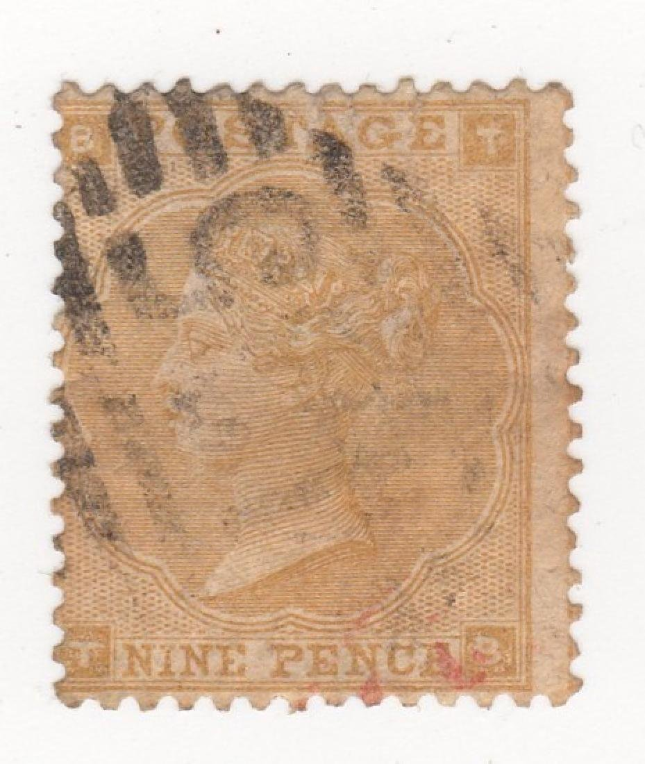 1865 Great Britain Queen Victoria 9 pence stamp