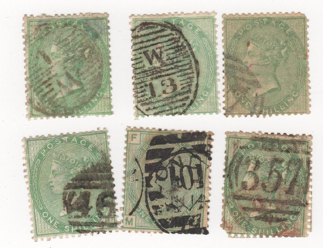 6 1856 Great Britain   1 shilling stamps