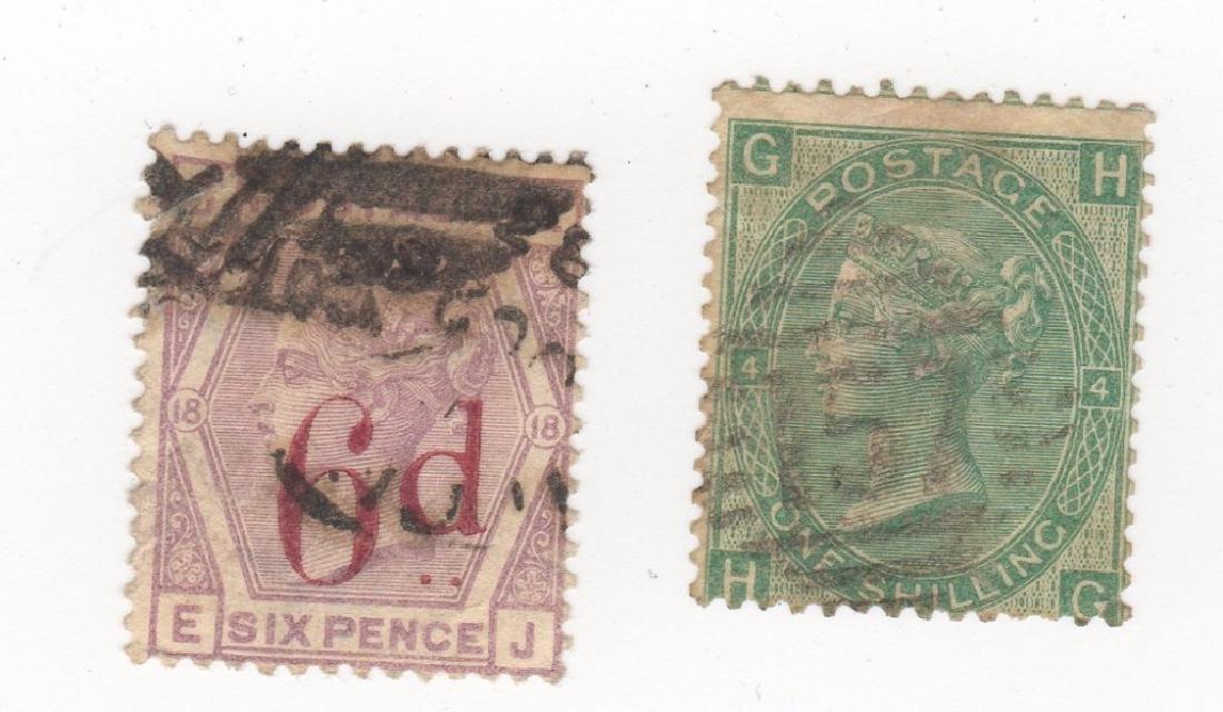 2 Great Britain Queen Victoria stamps