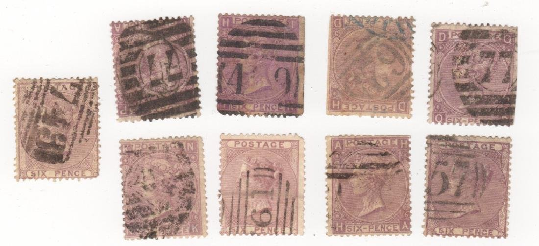 9 Great Britain Queen Victoria 6 pence stamps