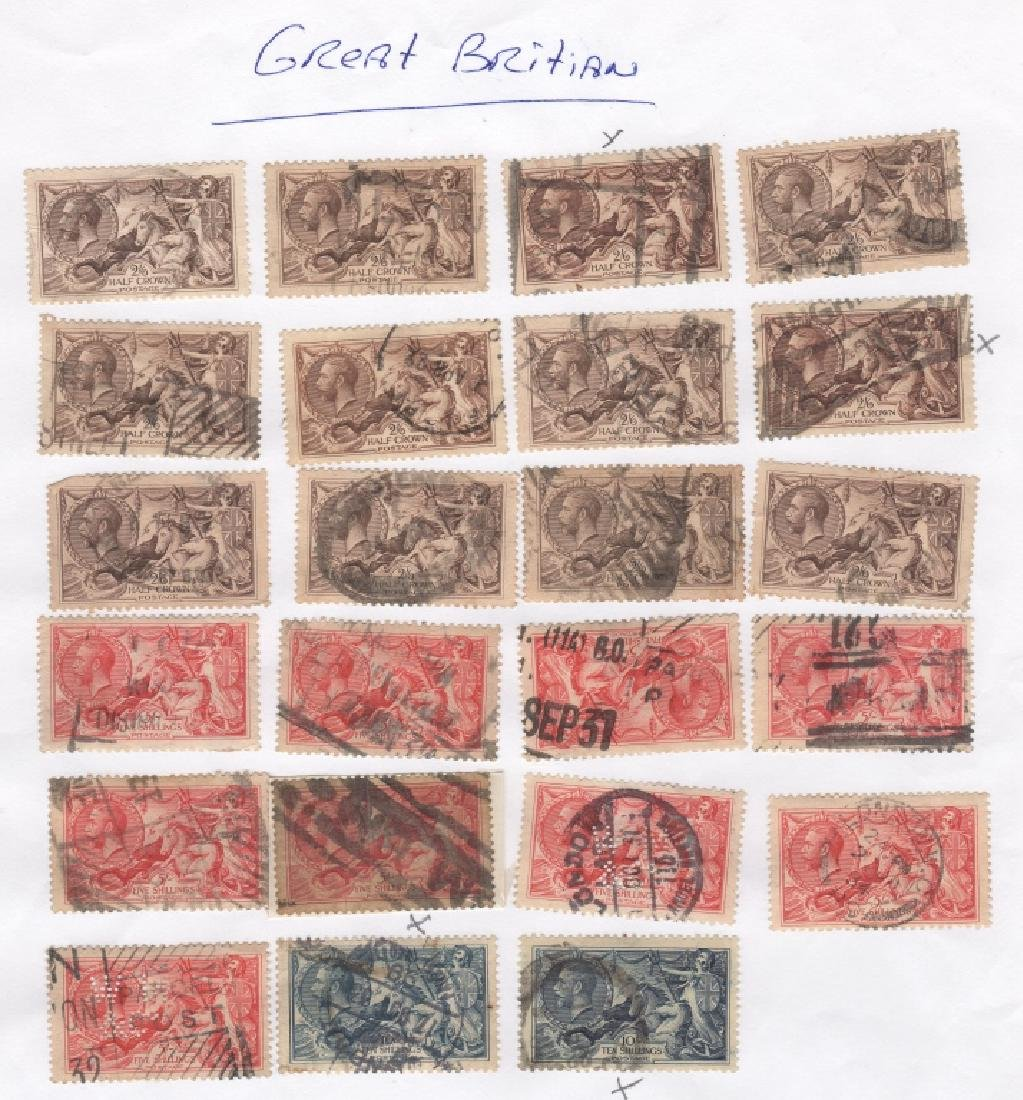 28  Great Britain King George V Seahorses stamps