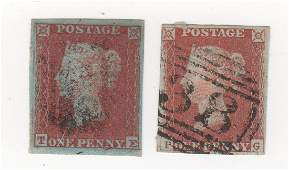 2 Great Britain Queen Victoria penny red stamps