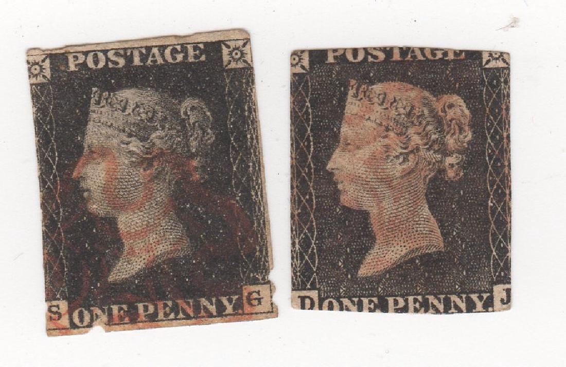 2 Great Britain Queen Victoria penny black stamps