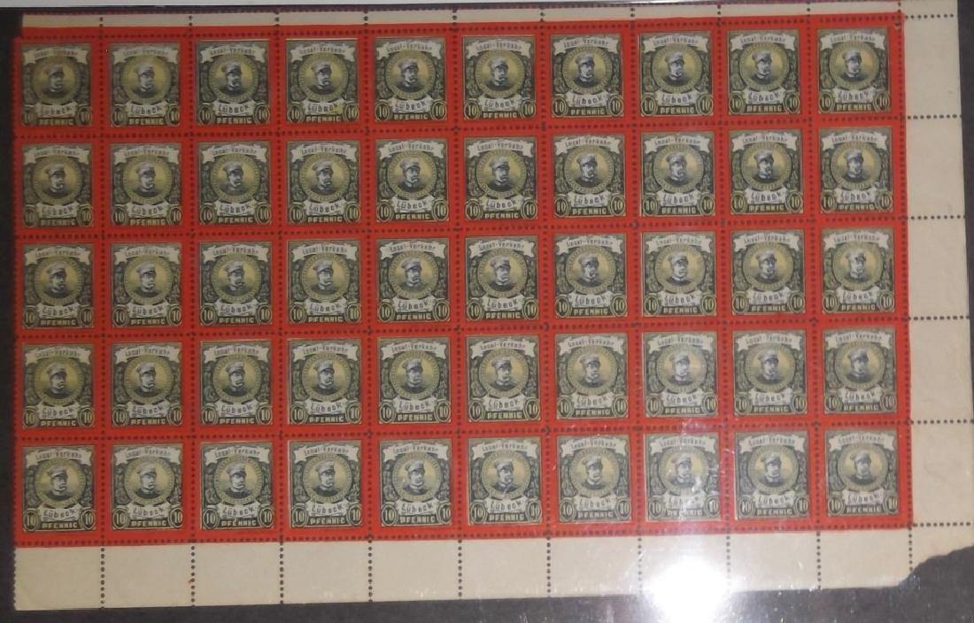 Sheet of 50 1888 German 10 Pfenning  Lubeck stamps