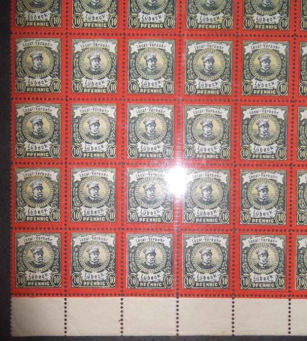 Sheet of 50 1888 German 10 Pfenning  Lubeck stamps - 2