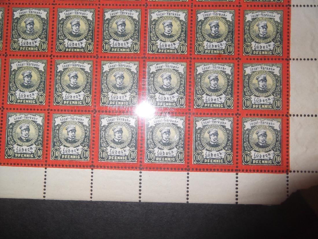 Sheet of 50 1888 German 10 Pfenning  Lubeck stamps - 4