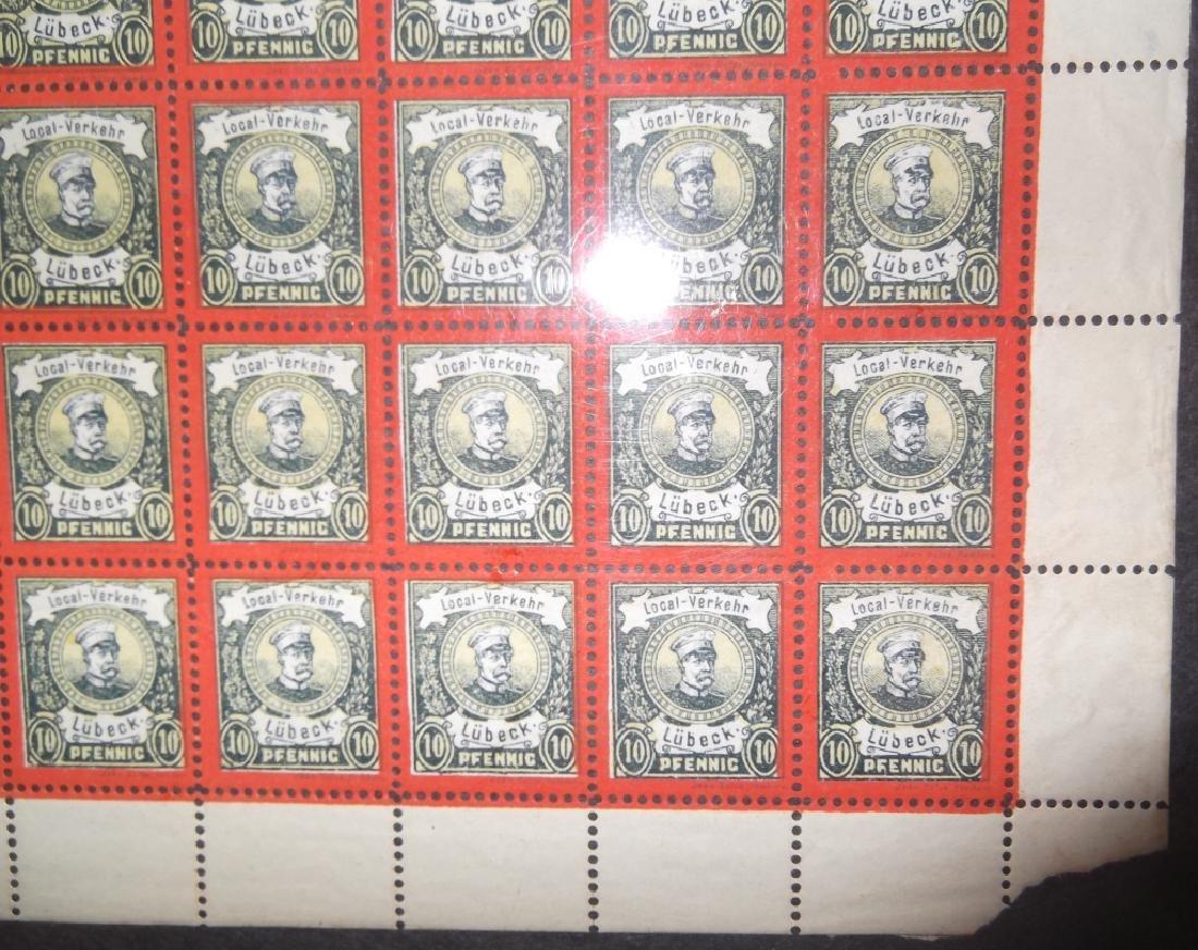 Sheet of 50 1888 German 10 Pfenning  Lubeck stamps - 5