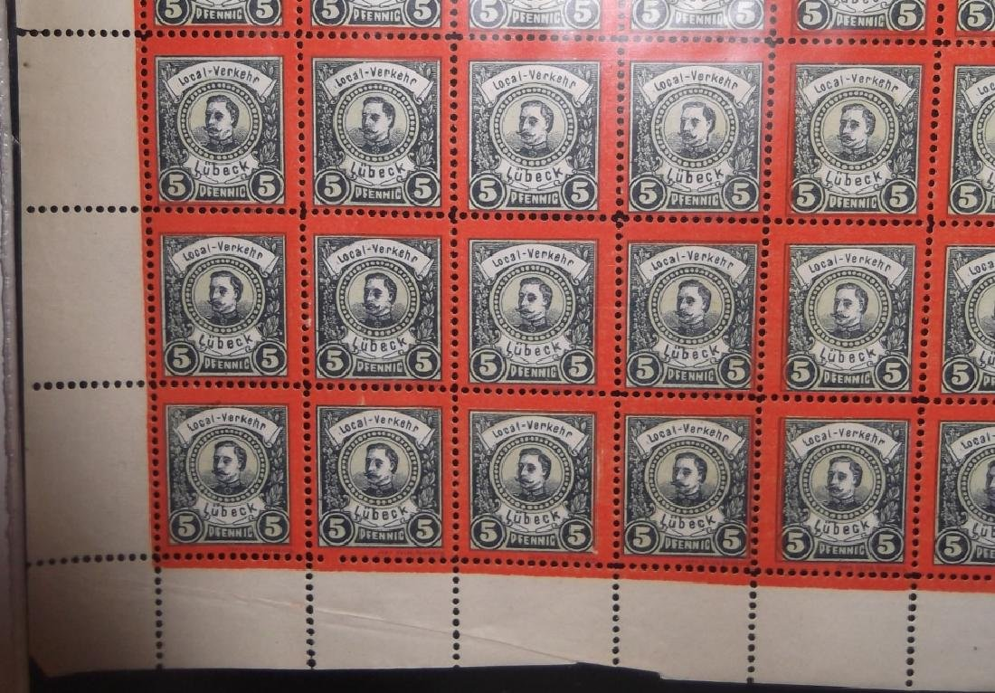 Sheet of 98 1888 German 5 Pfenning  Lubeck stamps - 2