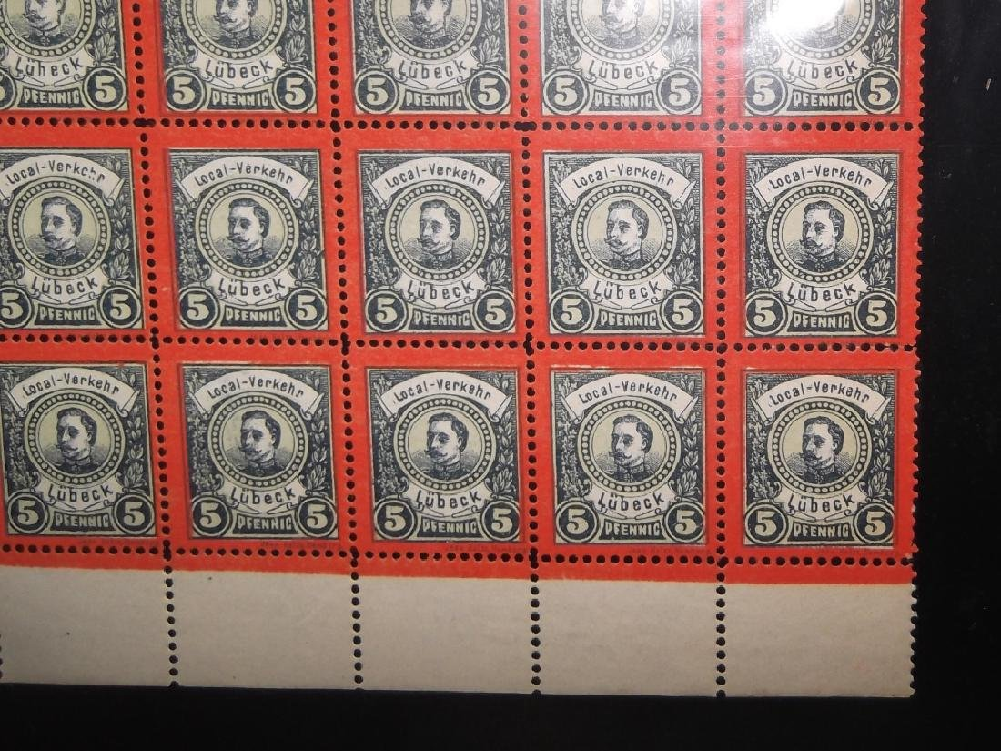 Sheet of 98 1888 German 5 Pfenning  Lubeck stamps - 7