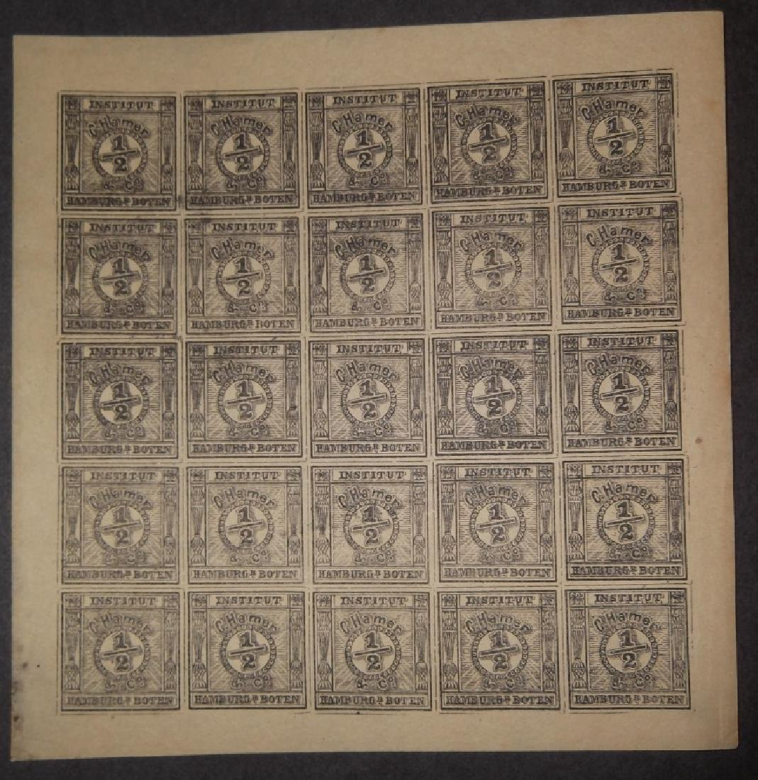 Uncut sheet of 25 The Spiro forgery German 1/2