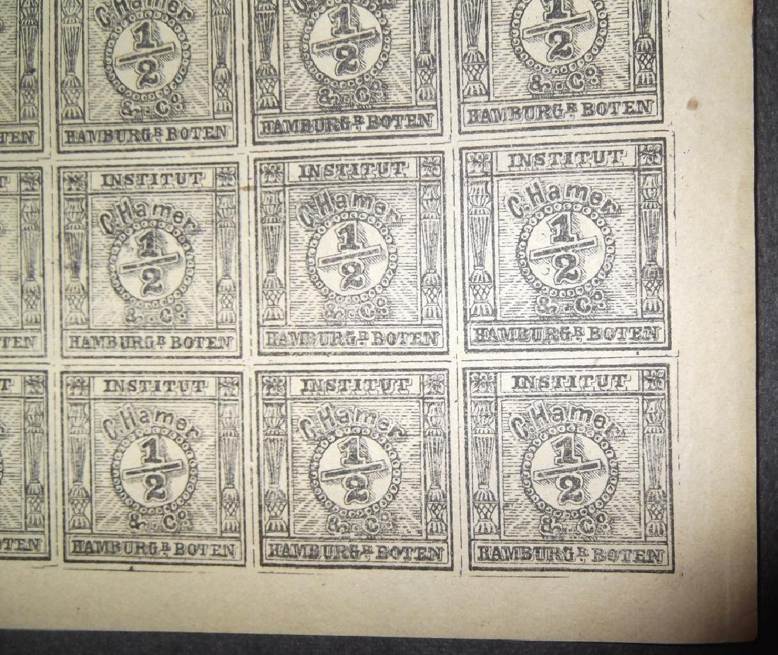 Uncut sheet of 25 The Spiro forgery German 1/2 - 3