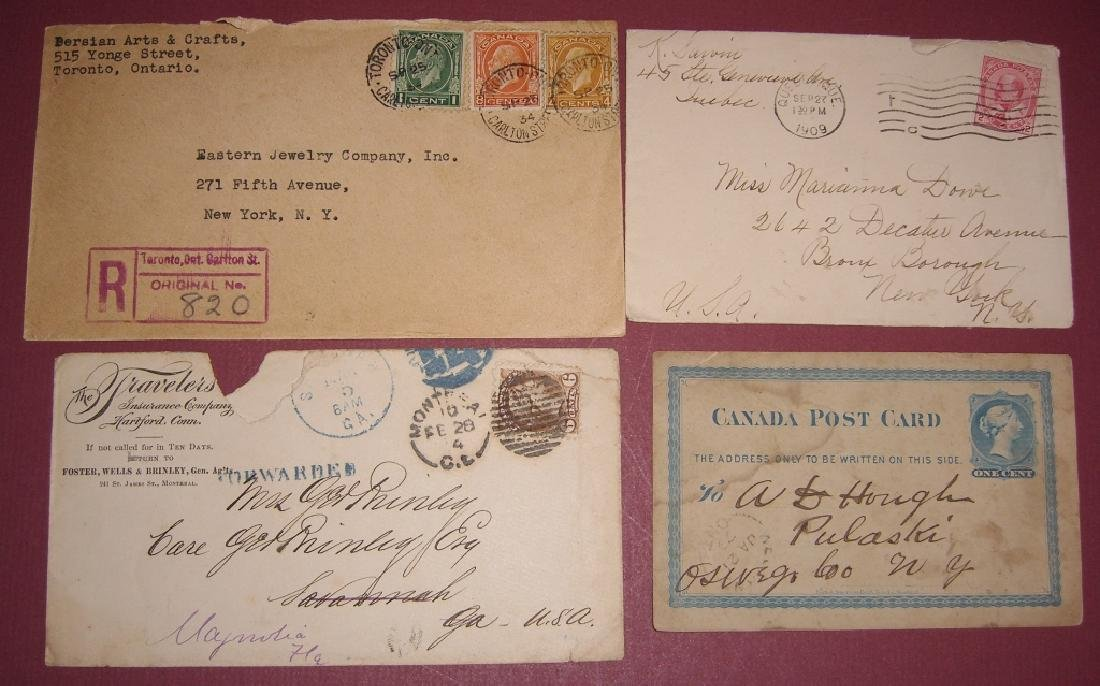 Canada 4 stamped envelope covers & postcard