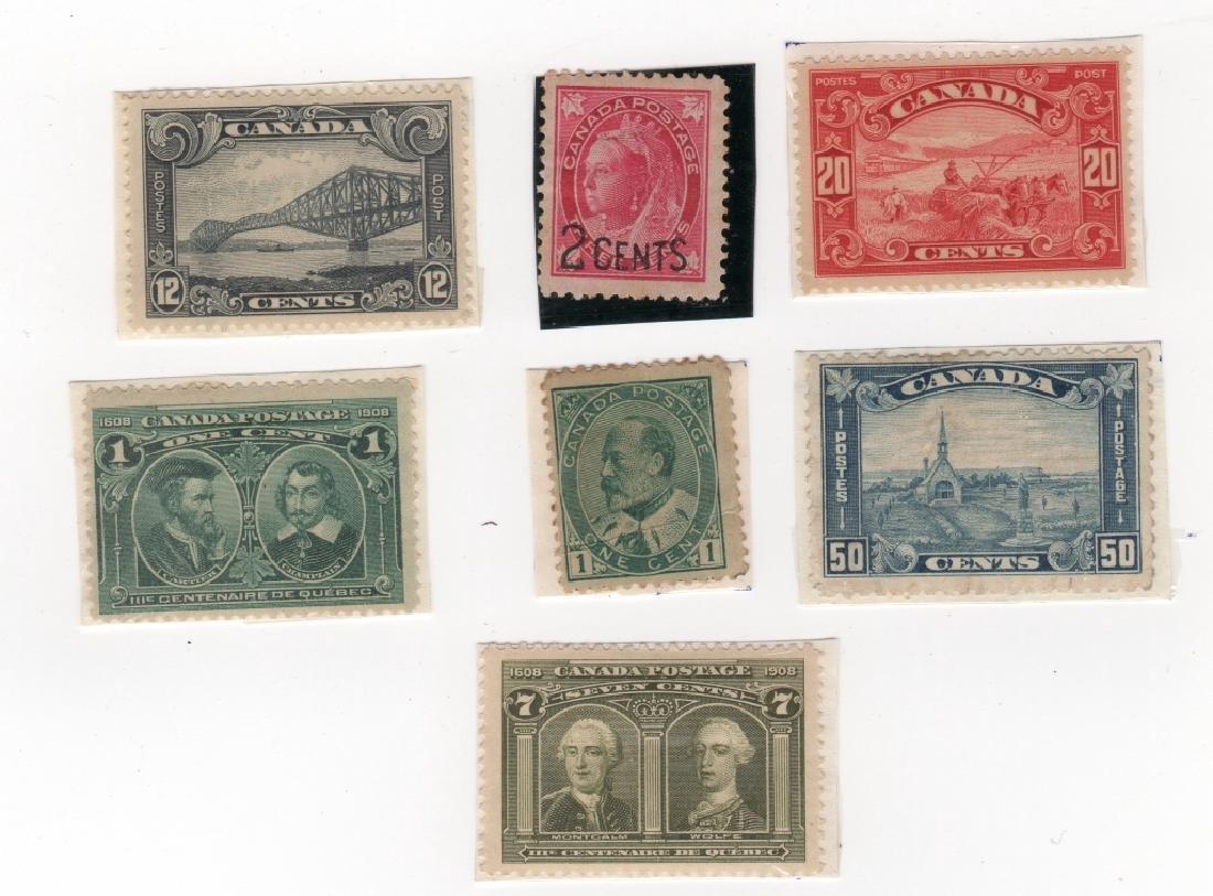 7 Canada stamps 20c 12c 50c 1c 7c