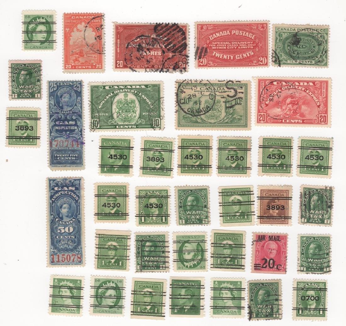 37 Canada stamps war tax spec. delivery overprints