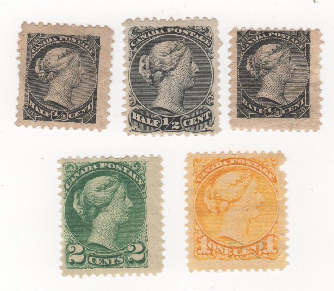 5 Dominion of Canada Queen Victoria stamps