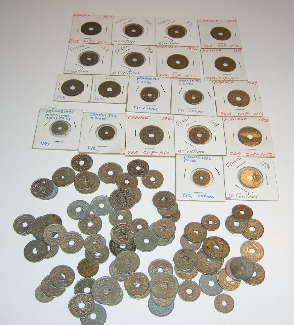 90 France/French WWI zinc coins