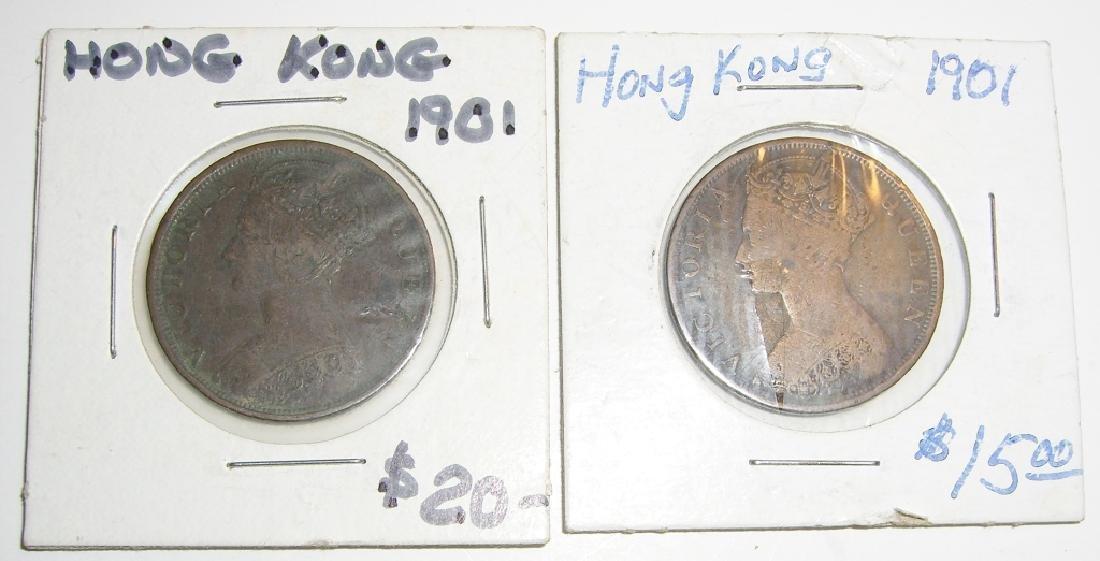 2 1901 Hong Kong coins