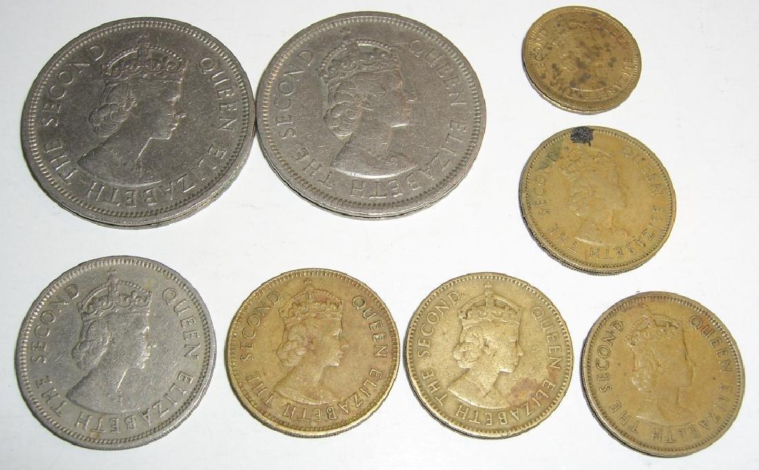 8 Hong Kong coins.