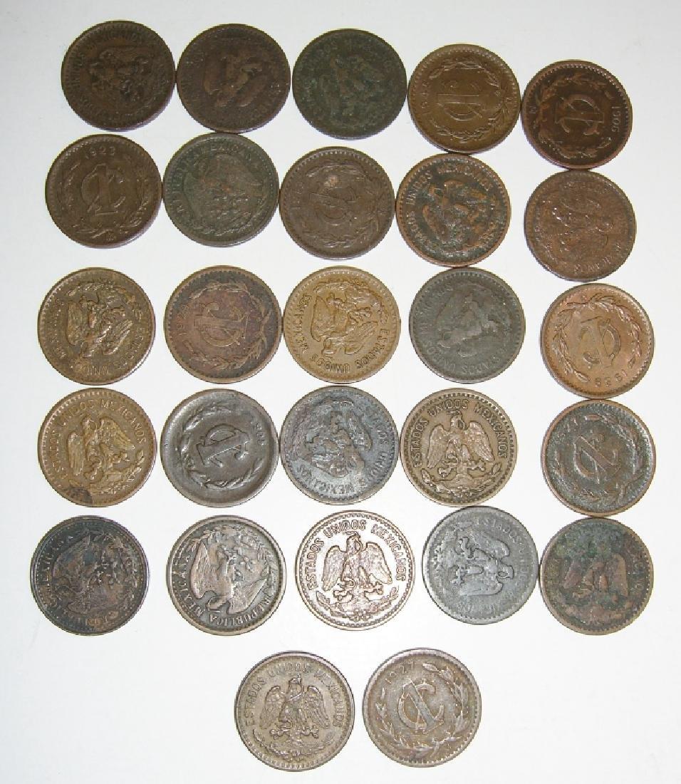 27 1903-1945 Mexico/Mexican 1 centavos coins lot