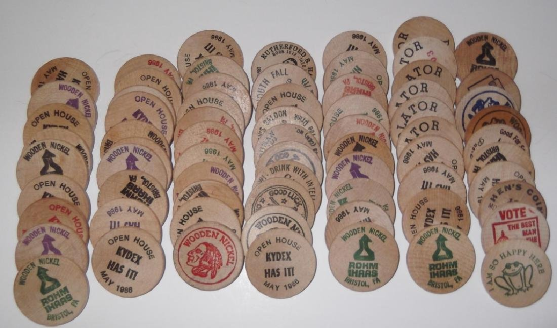 140 vintage wooden nickels