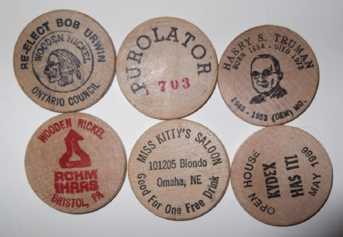 140 vintage wooden nickels - 5