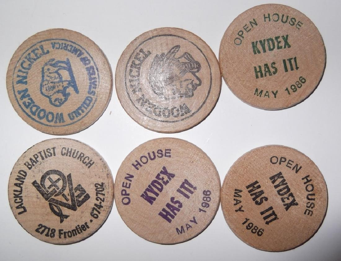 140 vintage wooden nickels - 8