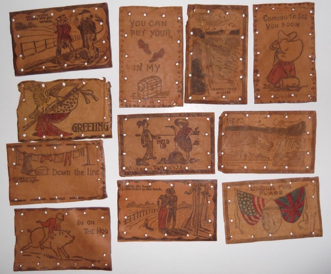 11 vintage leather postcards