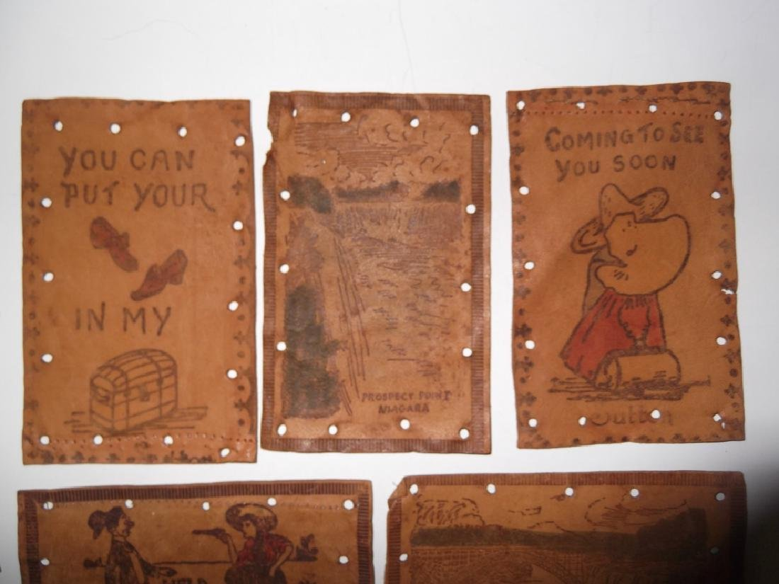 11 vintage leather postcards - 2